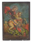 Greek Provincial School, late 19th century, an icon of St. George killing the dragon
