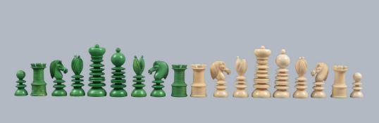 ϒ An unusual turned ivory chess set
