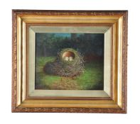 Abel Hold (British 1843-1896)Birds nest with speckled eggs