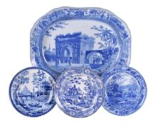 A Spode blue and white pearlware meat dish from the 'Caramanian' Series