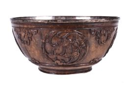 A Chinese carved coconut bowl