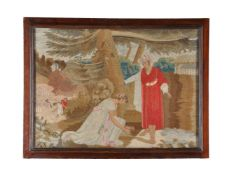A Regency or George IV Biblical woolwork picture of Ruth in the field of Boaz