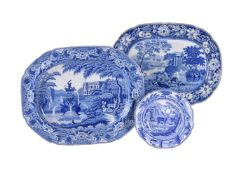 A Staffordshire blue and white printed pearlware meat plate