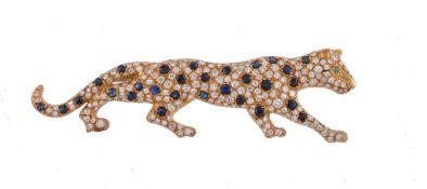 A diamond and sapphire leopard brooch