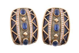 A pair of enamel, sapphire and diamond earrings by Amr Shaker