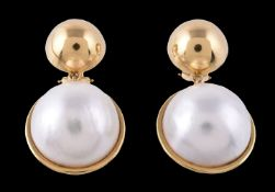 A pair of 18 carat gold mabé pearl earrings by Tiffany & Co.