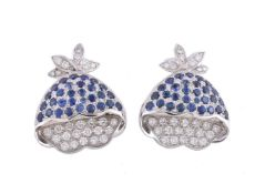A pair of sapphire and diamond floral earrings