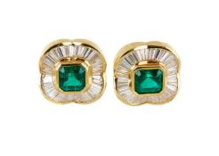 A pair of diamond and emerald cluster earrings