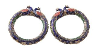 A pair of Jaipur enamel and diamond peacock bangles (Kada)
