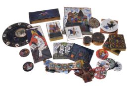 A collection of Russian cloisonné enamels on copper or brass