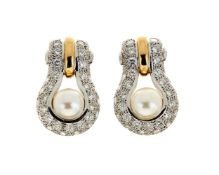 A pair of diamond and Akoya cultured pearl ear pendants