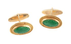 A pair of enamel cufflinks