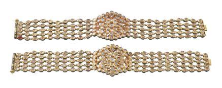 A pair of Jaipur enamel and diamond bracelets