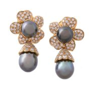 A pair of Tahitian cultured pearl and diamond earrings
