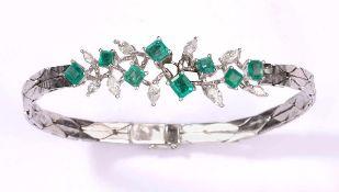 Armband750- Weißgold, Diamanten und Smaragde. Meistermarke.