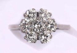 Ring750- Weißgold, Brillanten zus. ca. 1,36 ct.