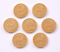 Sieben 1/4 Krügerrand-MünzenAlle von 2009, zus. 59 g.
