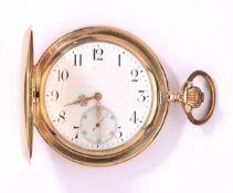 Savonette mit Uhrkette Anfang 20. Jhdt.585- Goldgehäuse und -kette. Emaillezifferblatt mit