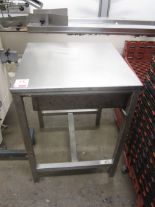 Lot 51 - Stainless steel food preparation work surface, with undercounter drawer, approx. 650 x 650mm (Please