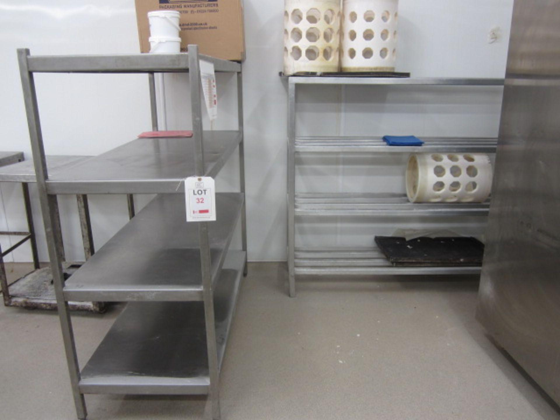 Lot 32 - Stainless steel 4-shelf storage rack. Approx., 1500 x 600 x 1650mm and stainless steel 4-shelf