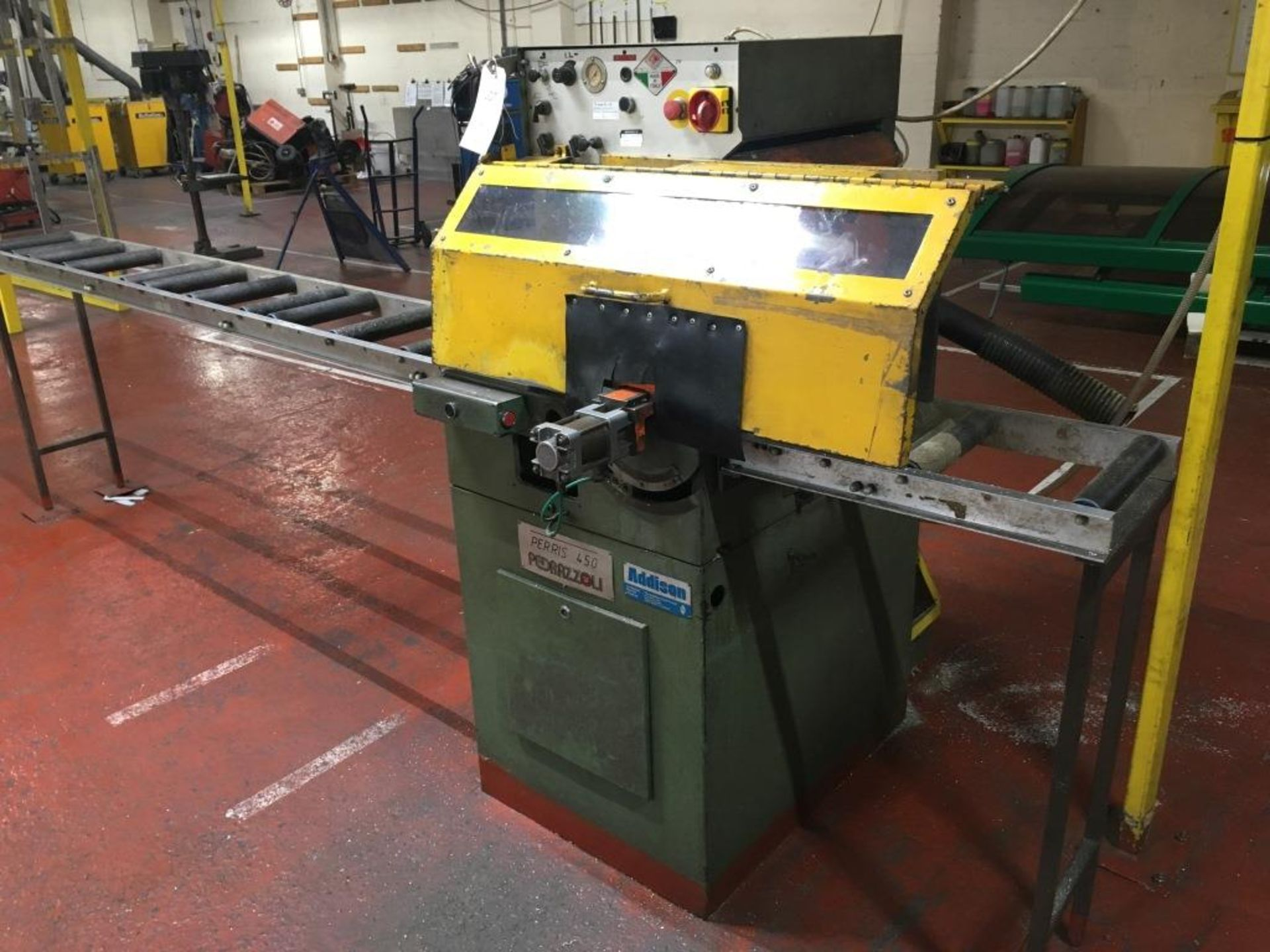 Lot 23 - Pedrazzoli Perns 450 rising blade cut off mitre saw, Serial No. M901210, with 2.5m roll feed. A work