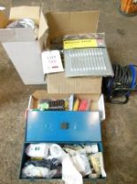 Lot 125 - Extension cable (240v), quantity of louvre vents, quantity of rawl plugs etc.