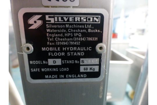 Silverson model D high speed mixer on Silverson 60Kg
