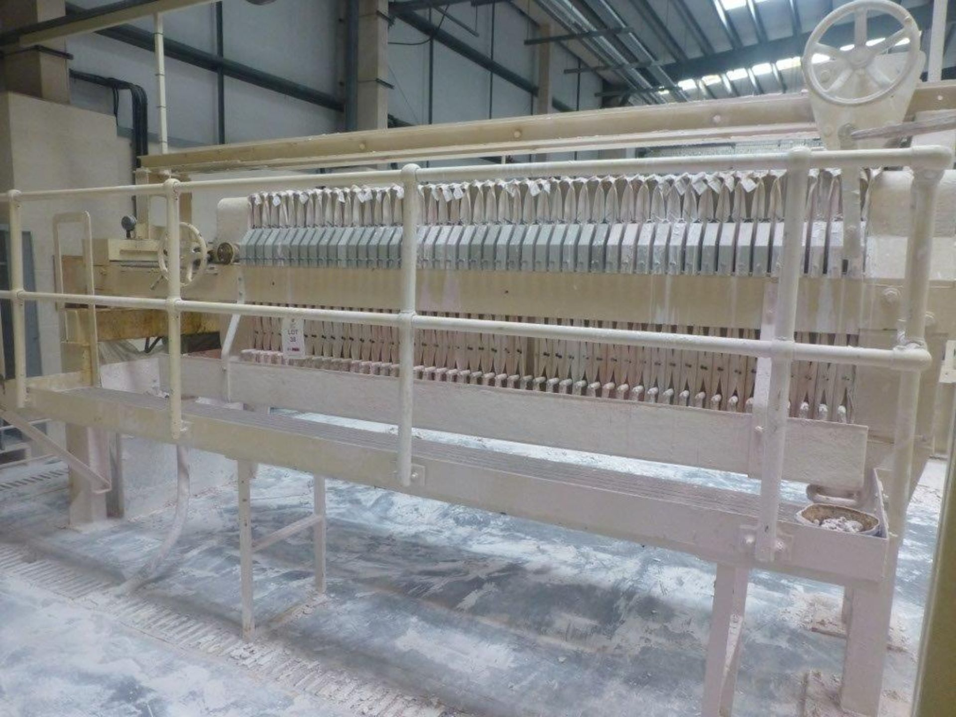 Lot 38 - 51 plate filter press, Plant No SHP7 Cream Press 2, overall length 4.9m with hydraulic power pack