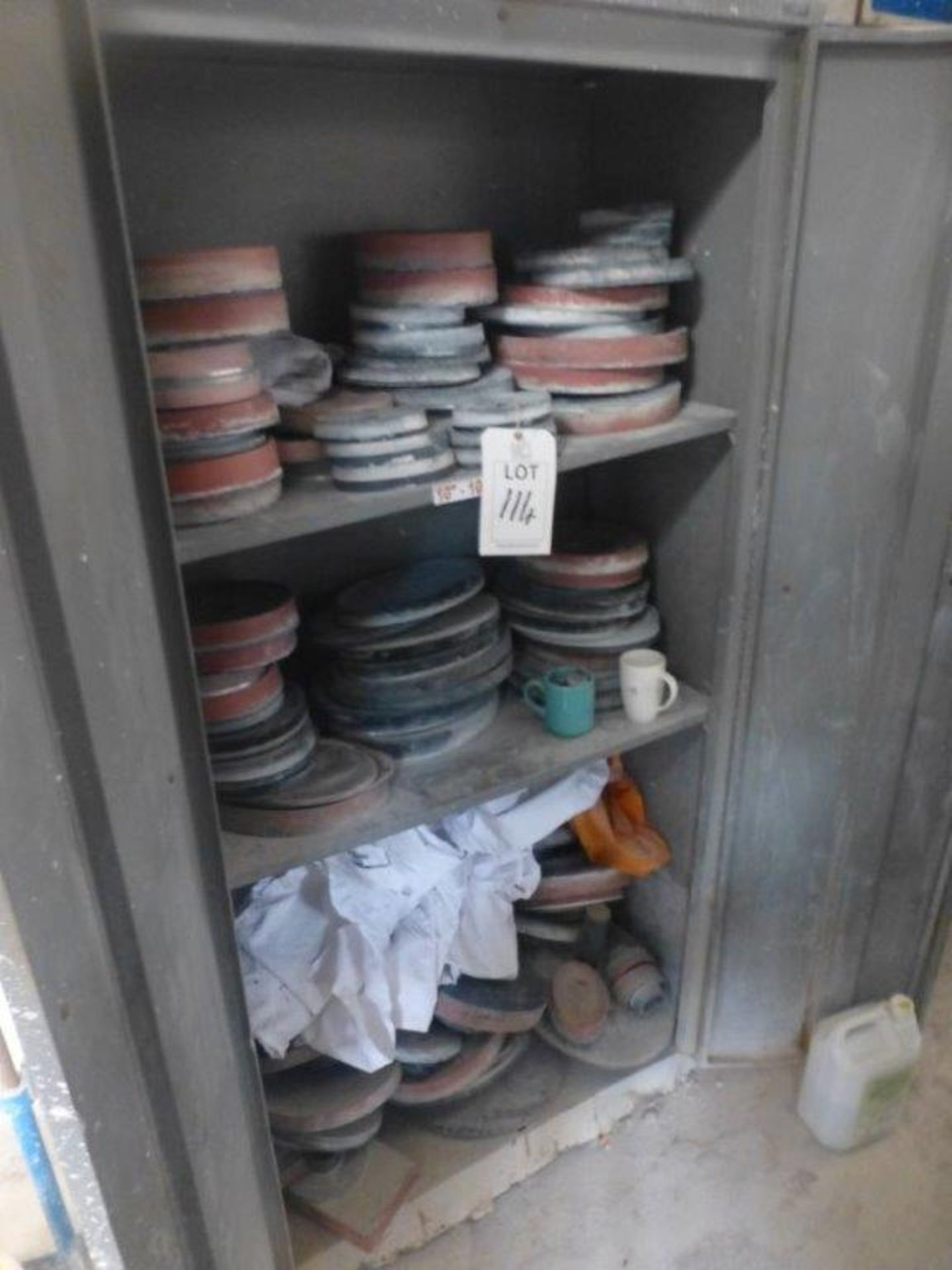 Lot 114 - Quantity of Semi Dish chocks in and including 6 tier rack and steel double door cupboard