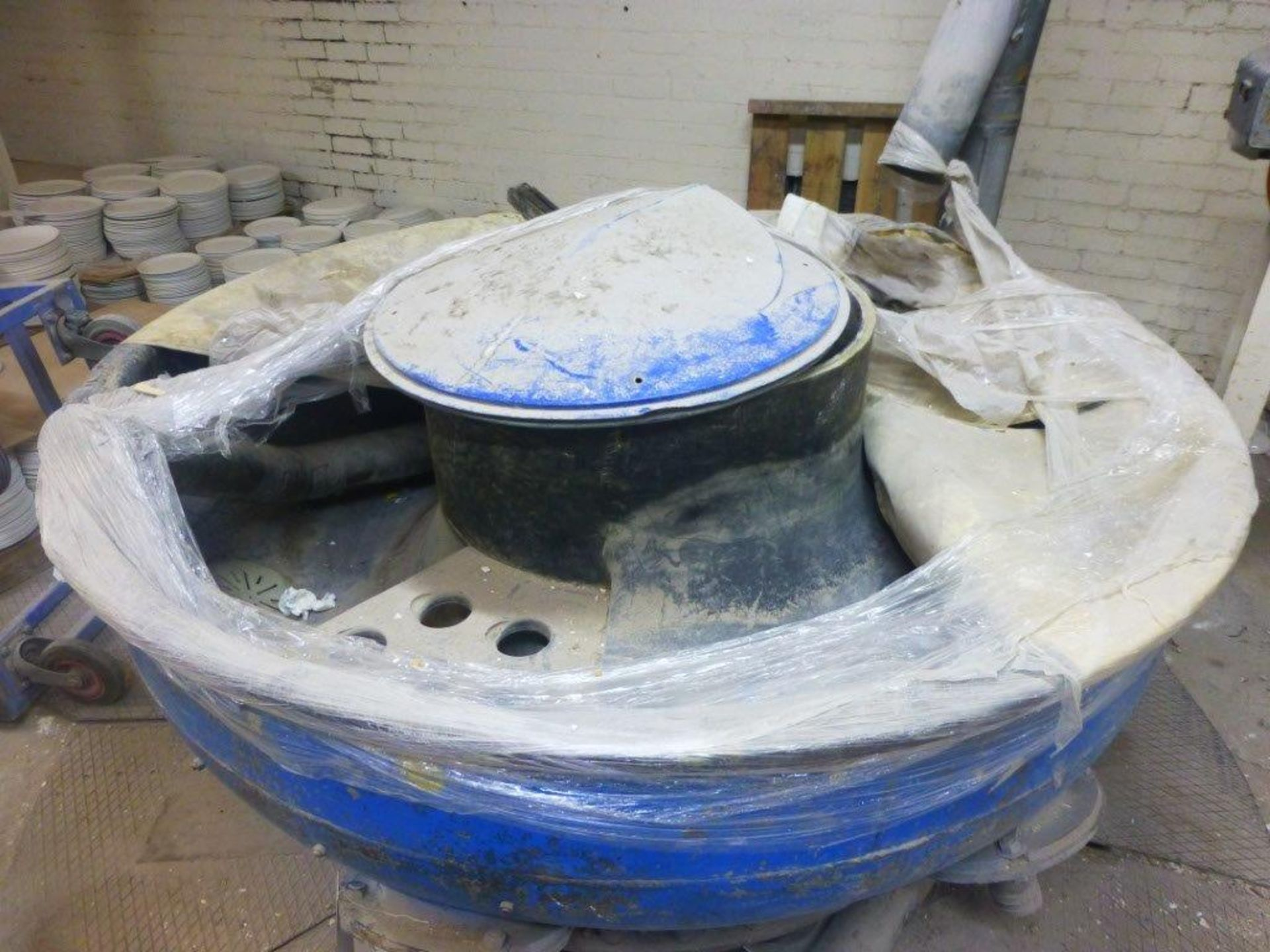 Lot 111 - 1900mm biscuit Vibro Mill with single chamber dust collection unit (not in use) (partially submerged