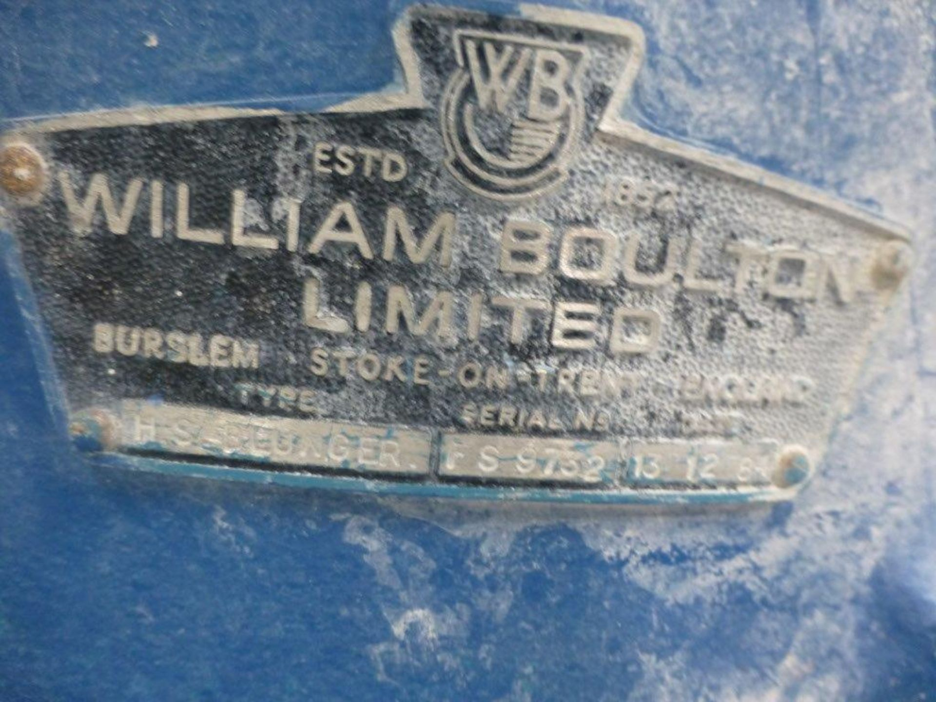 Lot 22 - William Boulton HS-Blunger, VIT clay blunger serial No FS-9732, Plant No SHB2 CHINA CLAY BLUNGER 2