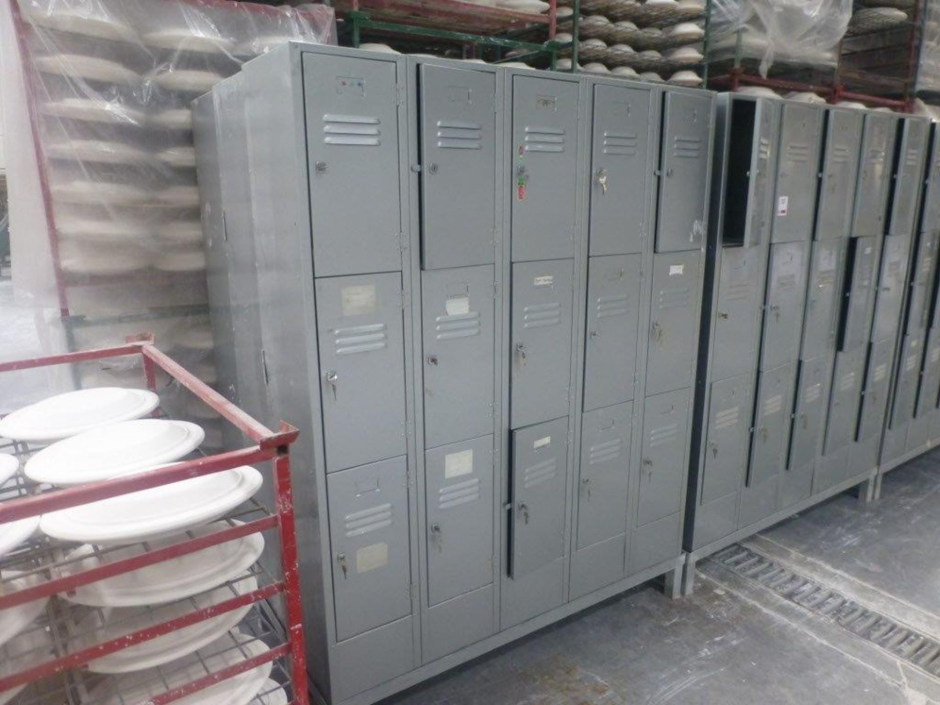 Lot 53 - 30 three compartment steel personnel locker units