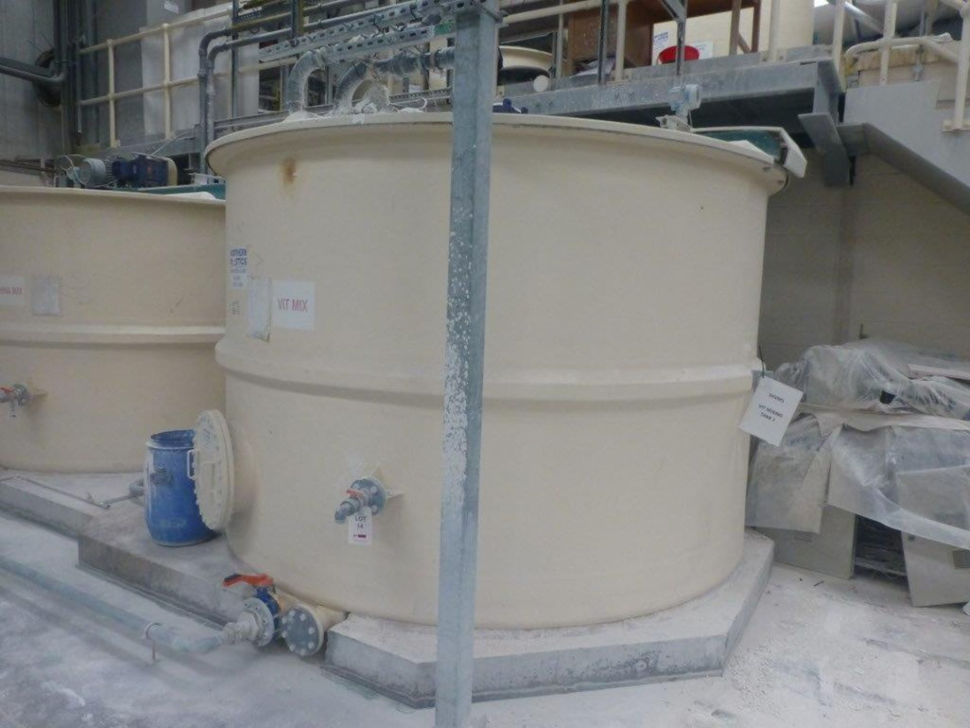 Lot 14 - Northern Plastics 17m GRP storage tank with agitator, tank No M42(12), plant No SHVM1-TANK 1 with