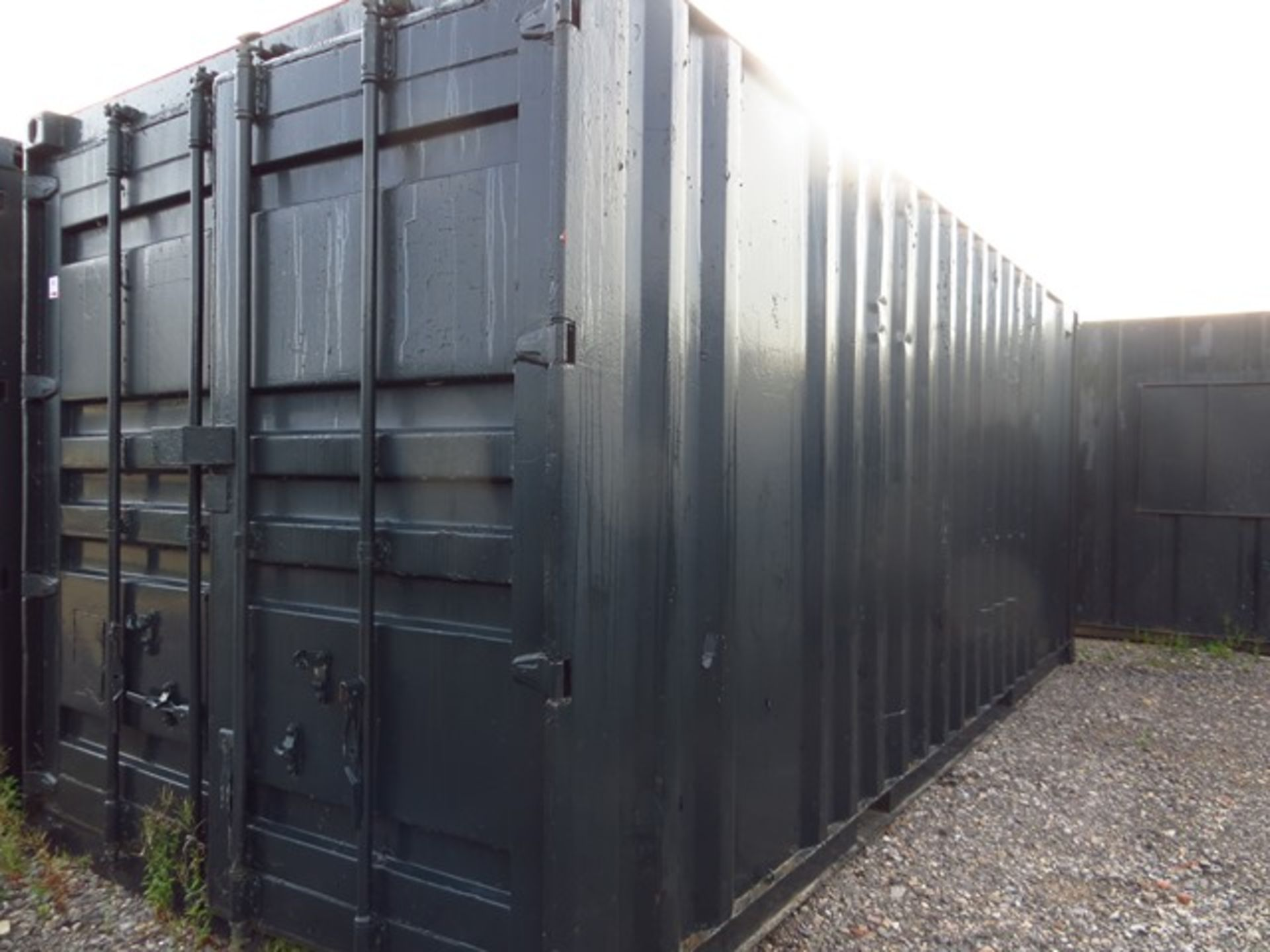 Lot 43 - 20' x 9' Steel Shipping Container c/w Various Office Furniture as Lotted