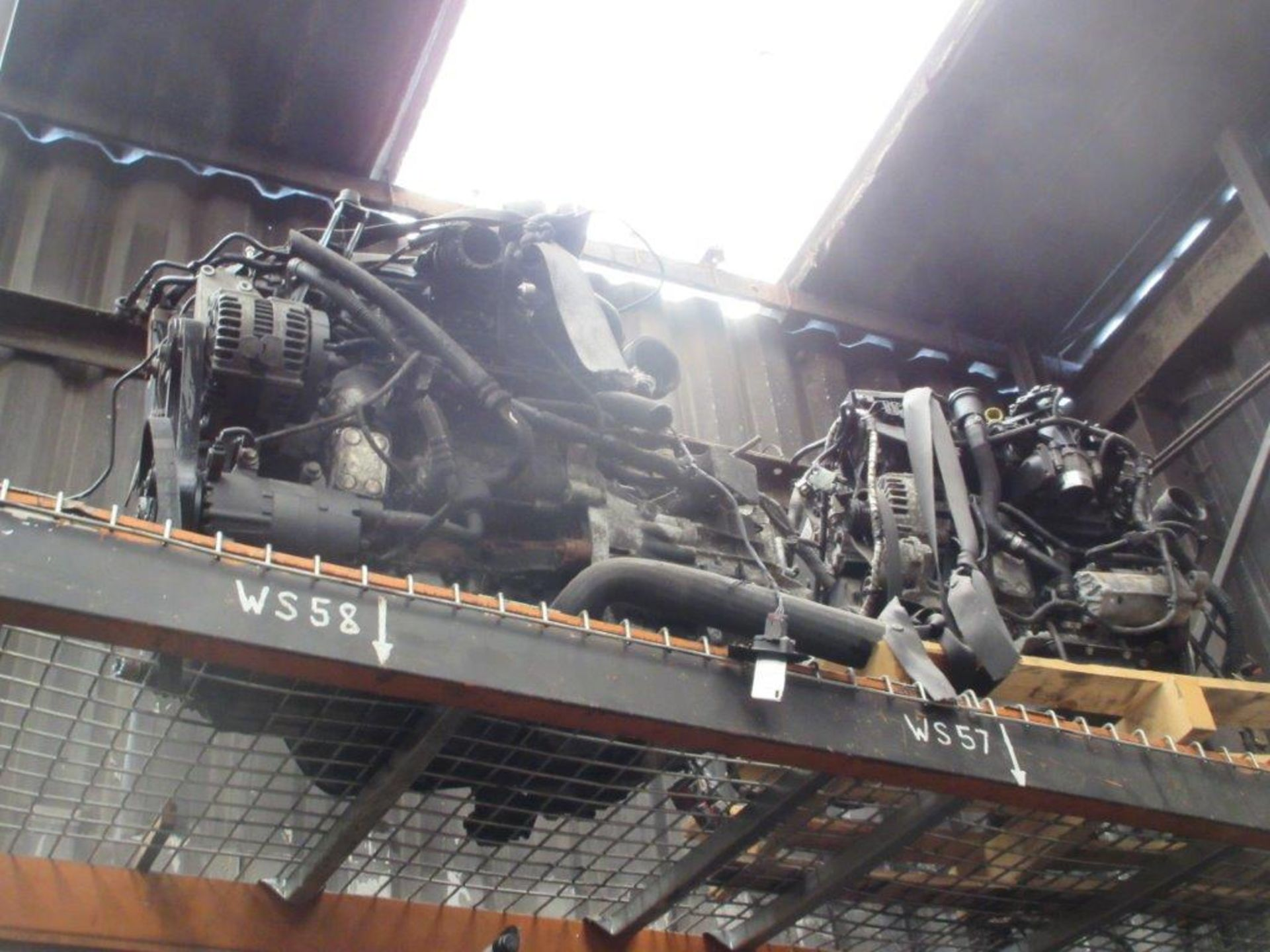 Lot 52 - 17 assorted engines with 2 bays of pallet racking including 1.8D 58 Mondeo, unknown, unknown,
