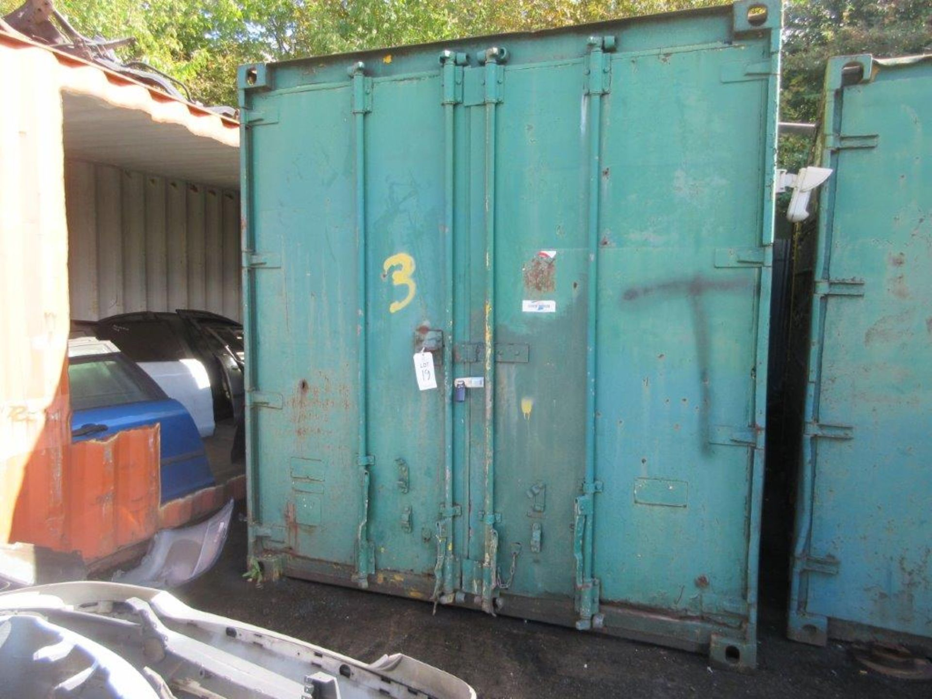 Lot 19 - Green steel shipping container, 18 ft. x 8 ft. approx. (Container only). *NB: A work Method