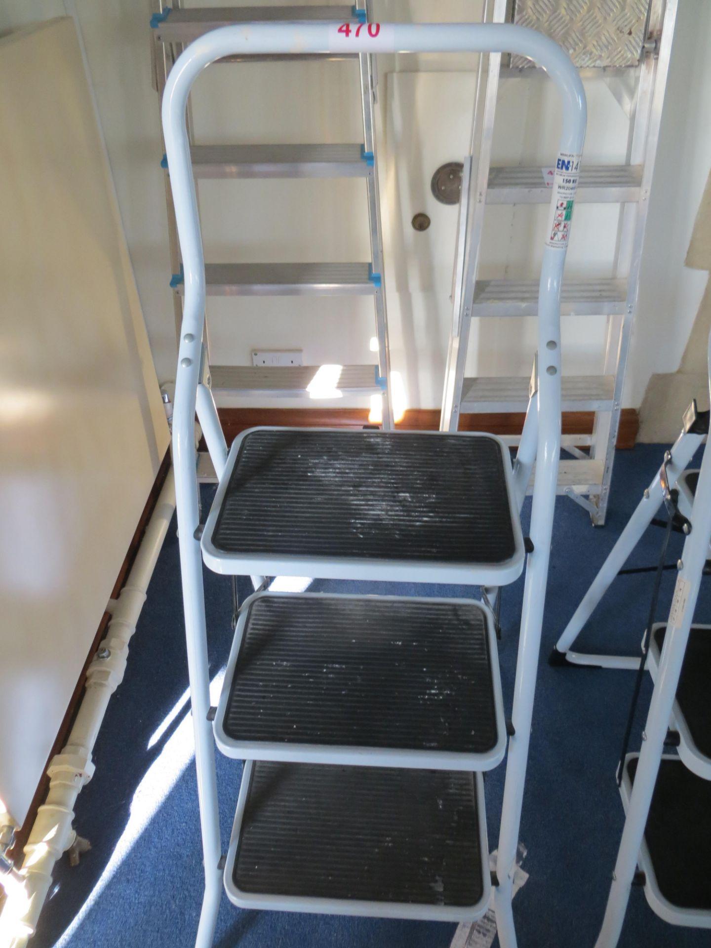 Lot 470 - Three tread folding steps