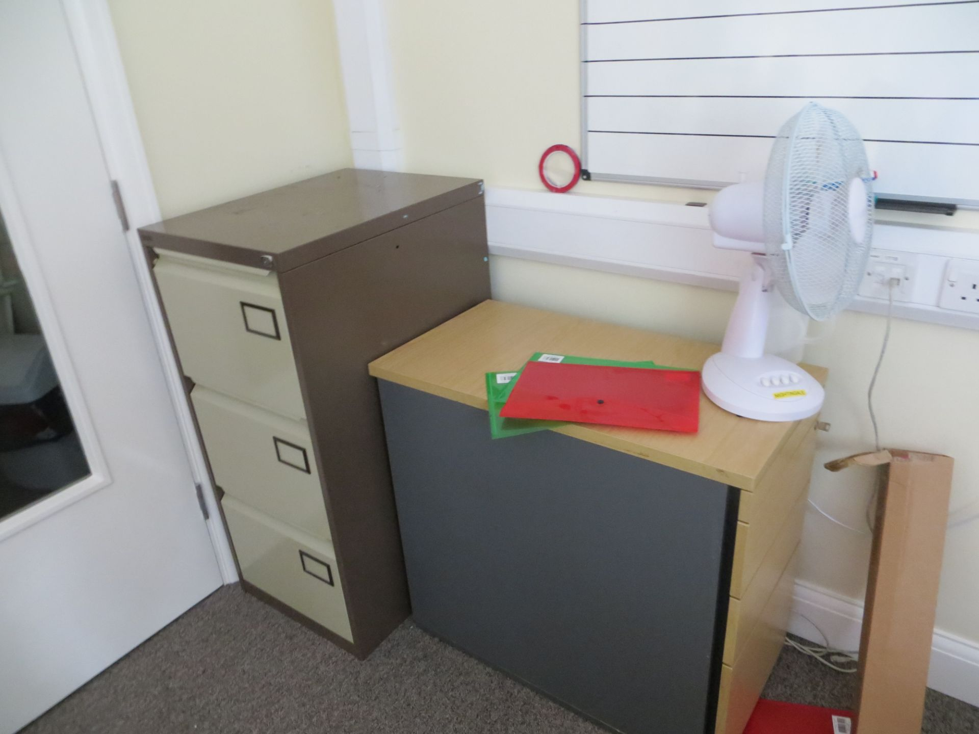 Lot 321 - Contents of office to include four desks, four swivel & tilt chairs, a stacking chair, four