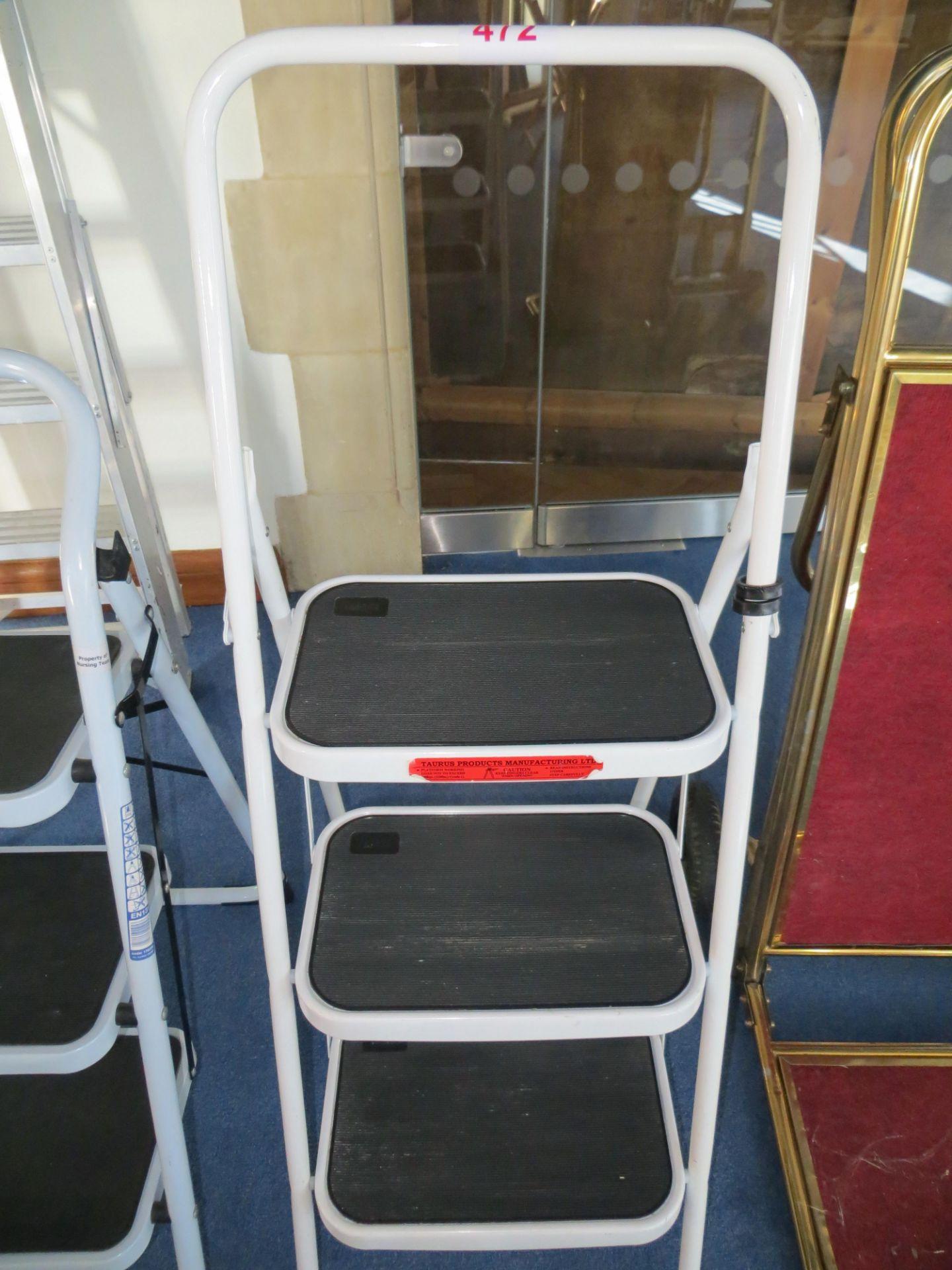 Lot 472 - Three tread folding steps