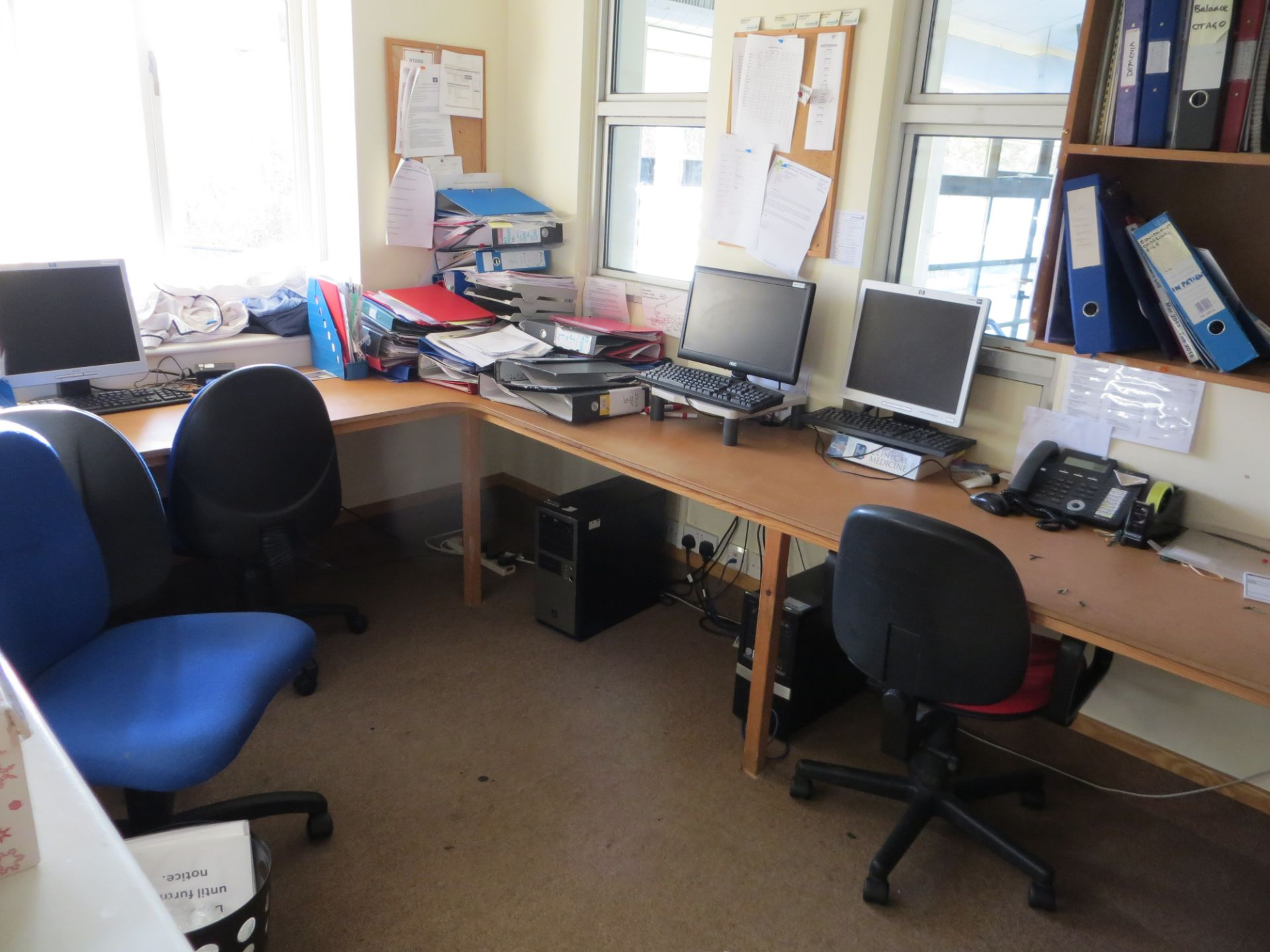 Lot 403 - Contents of two offices to include office desk L1200mm x W800mm, three pedestals, five swivel & tilt