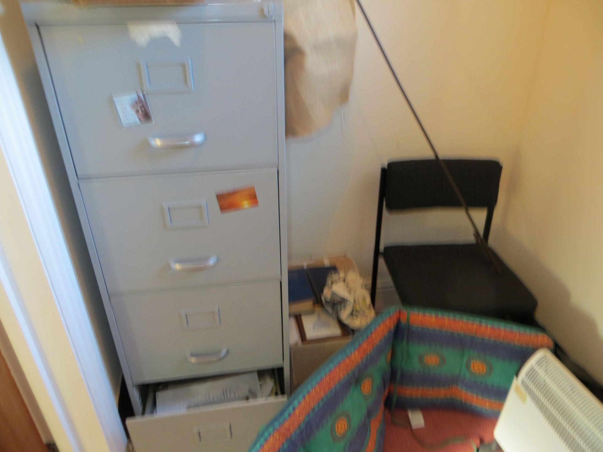 Lot 364 - Contents of office to include 4 drawer filing cabinet two 2 door cabinets, desk, side table, various