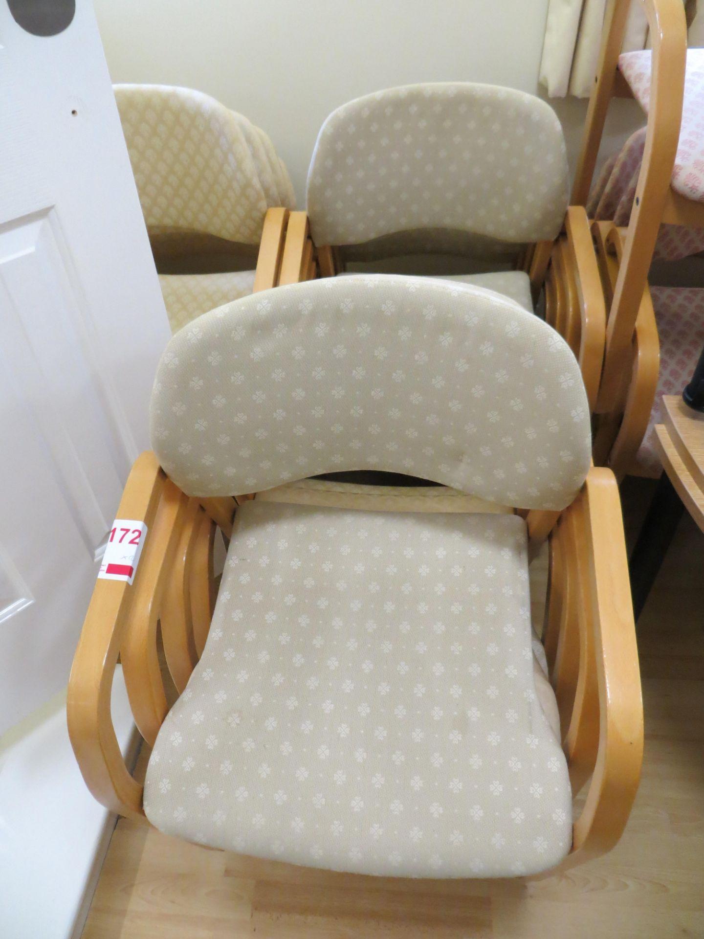 Lot 172 - Twelve Cloth Bentwood Light Oag Veneer Meeting Room Chairs