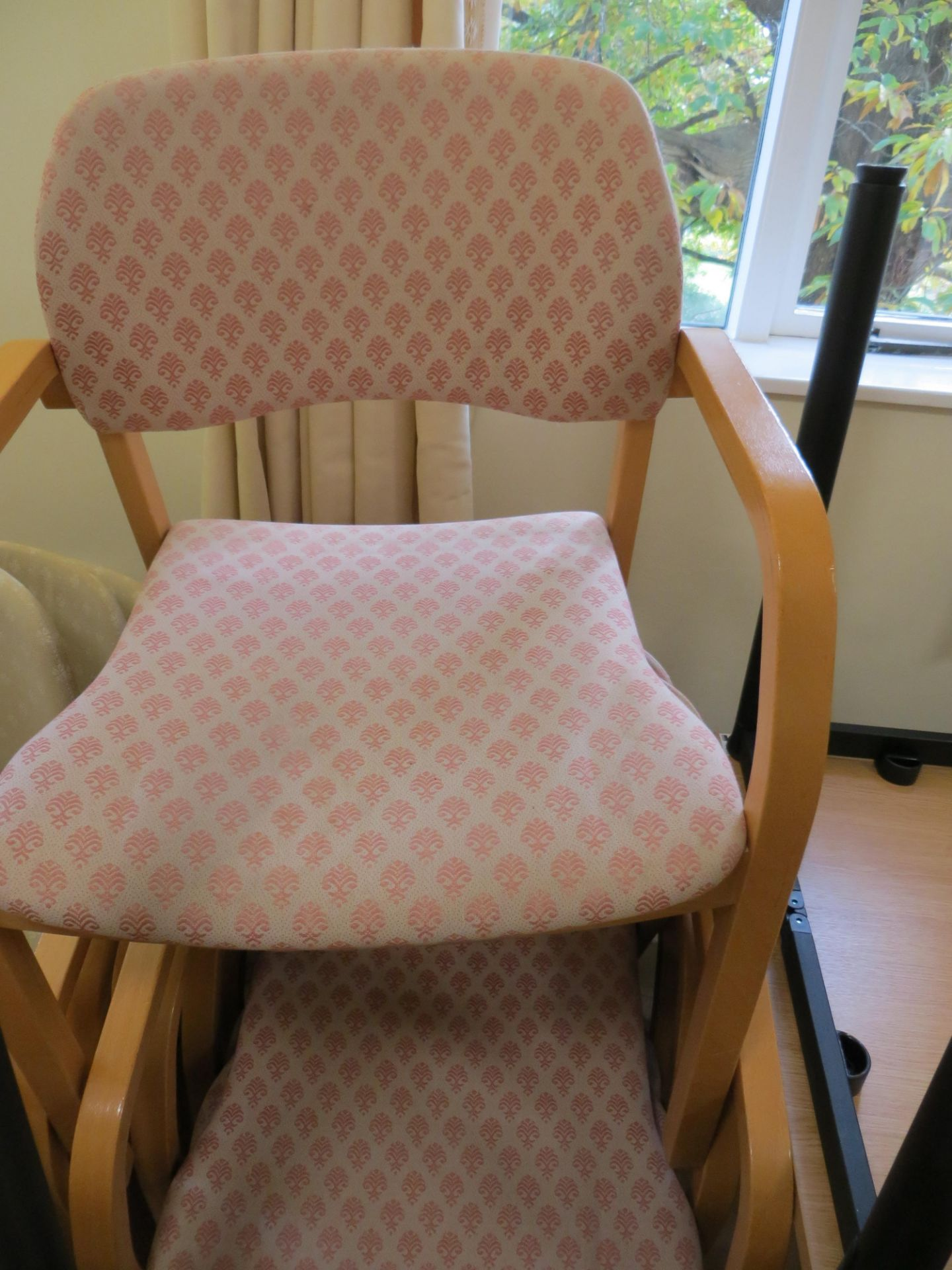 Lot 173 - Five Cloth Bentwood Light Oag Veneer Meeting Room Chairs