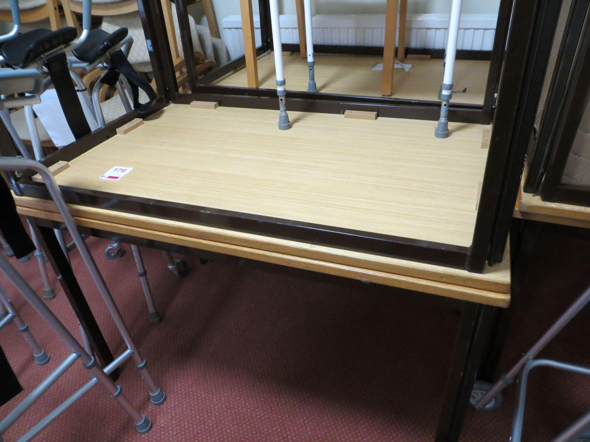 Lot 176 - Six metal framed light oak veneer meeting room tables 1200mm x 750mm