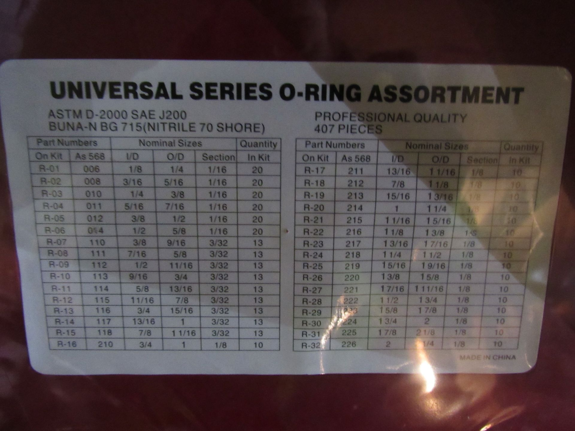 Lot 15 - 30 Z00387 O RING SET 386/407PC - IMPERIAL (30) RED