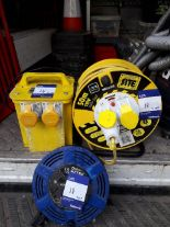 Lot 18 - 1 x Transformer double socket 240v to 110v, 1 x 2 socket 50m cable reel 110v, 1 x 15m cable reel (