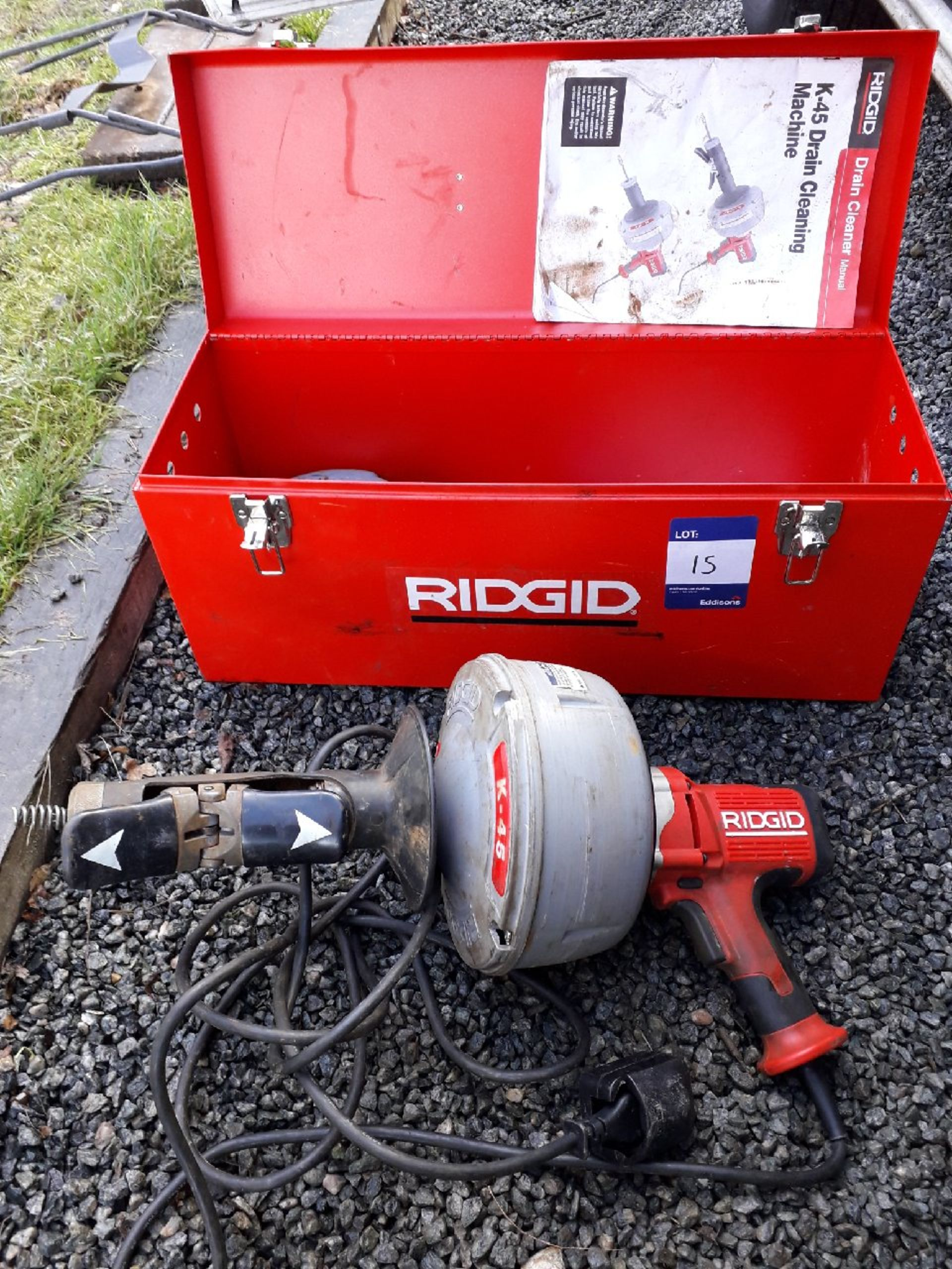Lot 15 - Ridgid K4S Drain cleaning machine serial number 0817, 240v. (Please note: Viewing is by