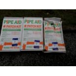 Lot 9 - 3 x Pipeaid radius pipe repair patch kit – Expiry 18.10.19. (Please note: Viewing is by