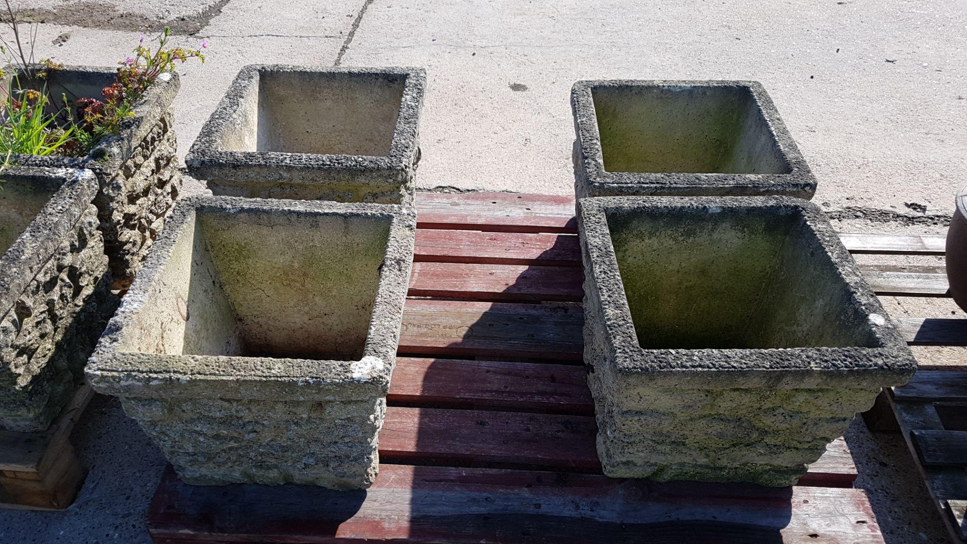 Lot 50 - 4 x Square Concrete Planters