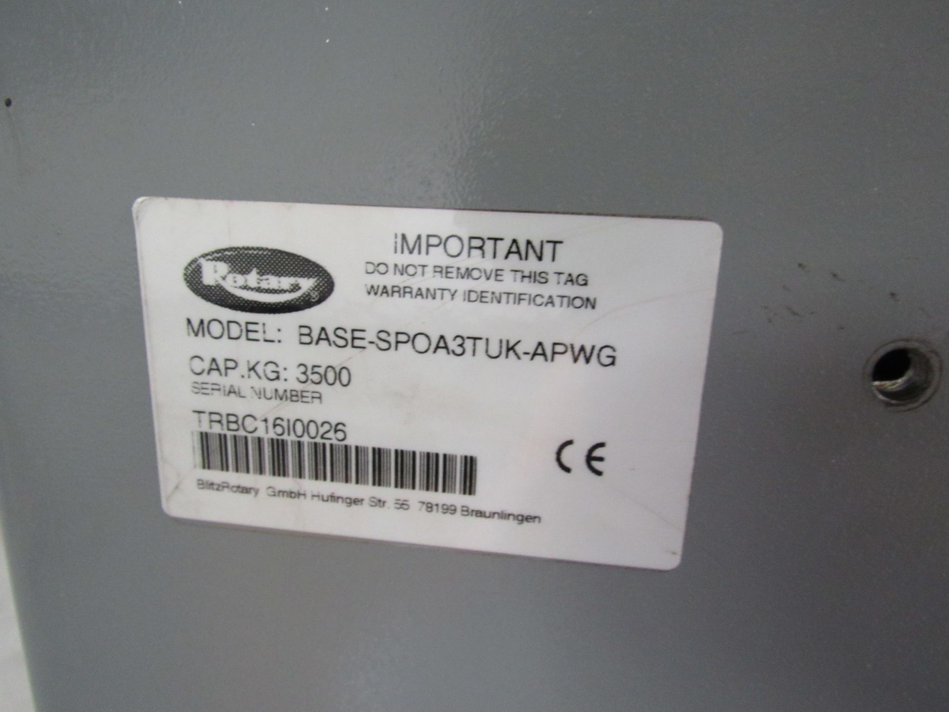 Lot 41 - Rotary Asymmetric Electro-Hydraulic Base SpoA3TUK – APWG 2 Post Lift with 3500kg Lifting Capacity,